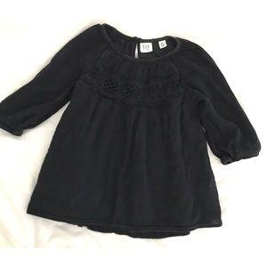 GAP black 3/4 sleeve boho peasant blouse w/ lace